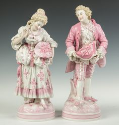 Learn more about Pair of Hand Painted Porcelain Courting Figures available at Cottone Auctions. Take a look now before it is too late! Painted Porcelain, Porcelain Ceramics, Hand Painted, Dresden Dolls, Marie Antoinette, Antique Items, Kitsch, Art Decor, Miniatures