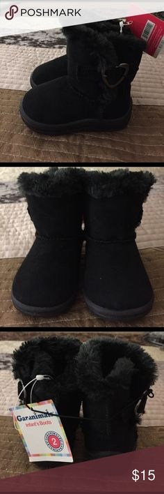 Fury boots fir infants Furry black infant boots , size 2 , new with tags garanimals Shoes Boots