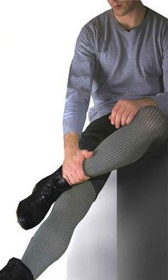 Collant homme gris rayé - Collants Fantaisie