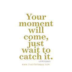 Your moment will come, just wait to catch it. - Unknown, LivLifeHappy.com