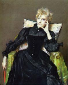 Seated Woman in Black Dress William Merritt Chase, 1890