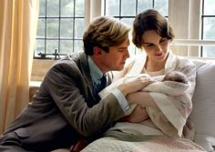 Matthew Crawley (Dan Stevens) and his wife Lady Mary (Michelle Dockery) and their baby.  | More Downton Abbey photos here:  http://mylusciouslife.com/historical-style-downton-abbey-photos/