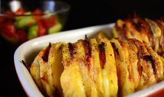 Hasselback potato Hasselback Potatoes, Pork, Meat, Kale Stir Fry, Pork Chops