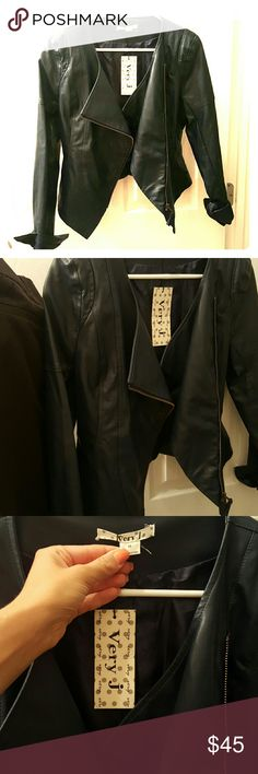 Very J Vegan Leather Biker Jacket (Size M) This is a brand new versatile navy, faux leather biker jacket that is not only stylish but extremely flattering in its fit. Front zip closure uniquely on the diagonal which gives the jacket a sexy edge and looks great dressed up or down! Very J Jackets & Coats