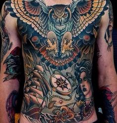 Male Chest Tattoos One of the most impressive full torso tattoos.