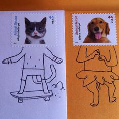 Fun with postage stamps - could use other things instead of stamps. have them use their imagination