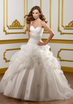 Ball Gown Strapless Sweetheart Embroidery Satin Chapel Train Wedding Dress-WB0011, $230.95