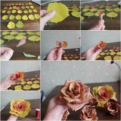 We+have+often+seen+a+variety+of+ways+to+make+paper+or+fabric+roses,+but+have+you+ever+seen+roses+made+with+real leaves?+Here+is+an+amazing+DIY+project+to+make+roses+from+autumn+leaves.+What a+creative+idea+to+use… Leaf Crafts, Flower Crafts, Diy And Crafts, Leaf Flowers, Diy Flowers, Paper Flowers, Wedding Flowers, Autumn Crafts, Nature Crafts