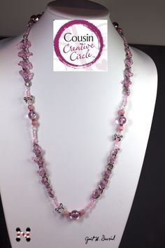 Cousin sells some pink beads that are obviously for Breast Cancer Awareness. To those beads, I added silver textured chain from the Second Skin line, and dressed the chain up with pink Wirelace. Finally, the pink seed beads in the medley for that color finished the ends to make this the perfect length for showing your support.