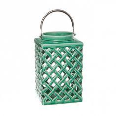 Lantern Ceramic Madison Diamond 16.5x16.5x26cmH Eme. Green Lanterns, Water Bottle, Ceramics, Diamond, Green, Stuff To Buy, Wedding Ideas, Decor, Cooking