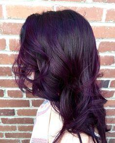 dark purple hair with brown . dark purple hair with black . dark purple hair without bleach . Dark Purple Hair Color, Violet Hair Colors, Hair Color Shades, Hair Color And Cut, Purple Highlights, Highlights 2017, Deep Violet Hair, Long Purple Hair, Spring Hair Colors