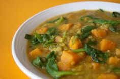 Sweet Potato Dal- very filling (stew like) and delicious! I added 1/2-1 cup more broth and it was still pretty thick. We also served it up with crusty bread. Mmmm mmm!