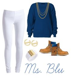 """""""Ms. Blu"""" by miss-aaliyah ❤ liked on Polyvore featuring Timberland, Pieces, ASOS, swag, versace, mindless, timbalands and baddie"""