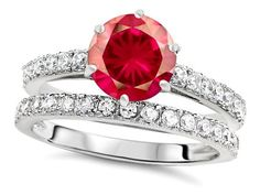 Original Star K(tm) Round 7mm Created Ruby Engagement Wedding Ring