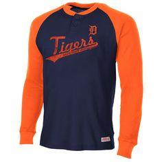Detroit Tigers Stitches Thermal Henley Raglan - Navy Blue/Orange