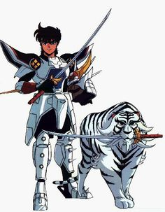 Ronin Warriors: Ryo of the Wildfire in Inferno Armor with White Blaze