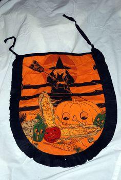 Vintage Halloween Crepe Paper Apron Witch Harvest Design