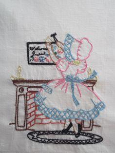 Bordados à mão clássica Toalhas Afazeres Domésticos  -  /  Vintage Hand Embroidered Chores  Towels -