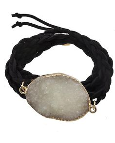 Gold Tone / Braide Black Suede & Druzy Acrylic / Lead&nickel Compliant / Wrap Bracelet
