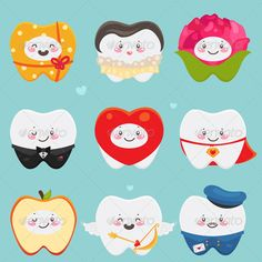 Teeth on Valentines Day #GraphicRiver Teeth: gift, lady, flower, gentleman, heart, Super Love, apple, amour, postman Zip file contains: - eps8, editable vector file. RGB - jpeg, size 4000?4000, 16MP. RGB Created: 29October13 GraphicsFilesIncluded: JPGImage #VectorEPS Layered: No MinimumAdobeCSVersion: CS Tags: amour #apple #cartoon #characters #clipart #day #dental #emotions #etro #february #flower #gentleman #gift #health #heart #hygiene #illustration #lady #love #postman #rose #set #smiley…