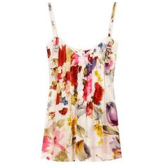 Dolce & Gabbana Floral Silk Printed Tank Top ($371) ❤ liked on Polyvore featuring tops, shirts, tank tops, tanks, floral tank top, floral tank, silk top, floral pattern shirt and silk shirt