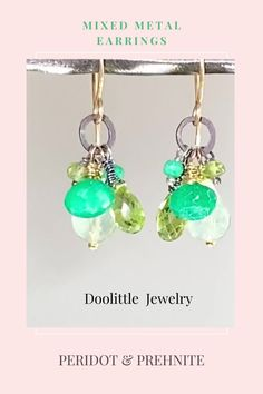 Dainty Earrings, Earrings Handmade, Dangle Earrings, Peridot Jewelry, Gemstone Jewelry, Metal Accents, Green Quartz, Green Gemstones, Special Deals