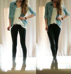 white tee, denim shirt, black jeans, belt, heel boots
