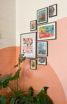 Colorful Gallery Wall with a Warm, Sunset Mural Mural Wall Art, Mural Painting, Diy Painting, Art Paintings, Room Ideas Bedroom, Bedroom Wall, Bedroom Decor, Gallery Wall Bedroom, Bedroom Murals