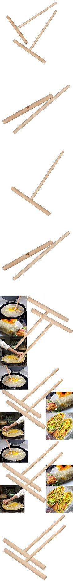 Pancake Batter Spreader T-Shaped Wooden Crepe Maker Kitchen Utensil Tools 2-Pack