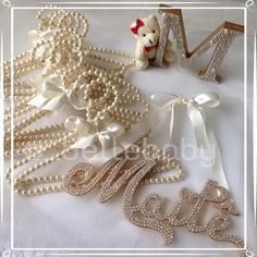 Pearl Party, Diy And Crafts, Arts And Crafts, Wedding Dress Hanger, 3d Letters, Letter A Crafts, Baby Boutique, Baby Design, Baby Decor