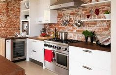 Exposed brick splashback (covered in glass)