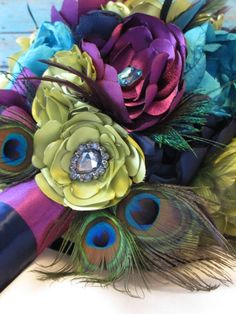 Peacock Wedding Flowers | Beautiful Peacock Fabric Flower Wedding Bouquet by poppylimedesign, $ ...