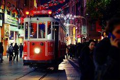 Historic tram on İstiklal Avenue, Istanbul