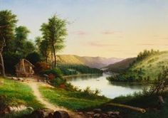 William Coventry Wall (1811-1886)  ON THE MONONGAHELA  1860  Oil on Canvas  30 x 42 inches  From the permanent collection of the Westmoreland Museum of American Art