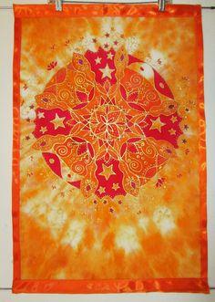 ORANGE mandala de chakra, soie wall hanging, spirituel, art du mandala, art de chakra, créativité qui coule art, art de la méditation, reiki art, art de guérison