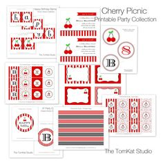 Items similar to Cherry Party Theme Printable Full Birthday Party Collection by The TomKat Studio on Etsy Birthday Parties, Kid Parties, Fruit Flowers, Happy Birthday Banners, Cherries, Party Printables, Cherry Ideas, Party Time, Scrap Books