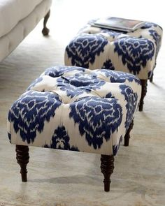 """Blue ikat stools--""""Emily"""" Tufted Bench.  These are so pretty!"""
