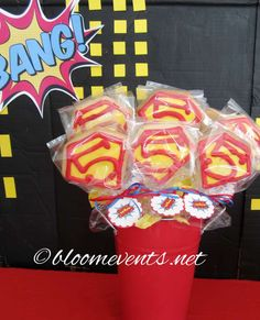 Cookie pops at a superhero birthday party! See more party ideas at CatchMyParty.com!