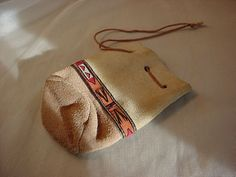 Seude Leather Drawstring Pouch Bag Coin Purse Renaissance 3 by 4 inches Beaded #BloomBrothers Seller florasgarden on ebay