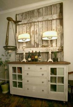 Old barn door as a backdrop for buffet