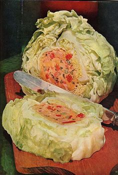 "Cheese/ham-filled lettuce. Good Housekeeping, August 1961.  At 8:05 p.m., test subject ""lettuce A"" went mad and committed ritual suicide. Here is the grisly aftermath. As you can see, his brain contained high levels of Cheddar, known to cause dementia in the iceberg species.  The Lab Techs pronounced him ... delicious (?). haha   ALL humor credit goes to Holly GoLightly!"