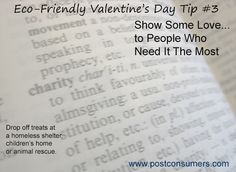 Eco Valentine's Tip: Spread the Love to the Less Fortunate