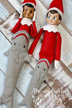 elf on the shelf shark tail 3 Elf Christmas Decorations, Christmas Elf, All Things Christmas, Christmas 2019, Christmas Ideas, Applique Designs, Machine Embroidery Designs, Elf Doll, Dolls