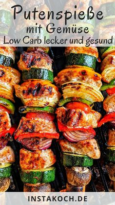 Low Carb Putenspieße mit Gemüse - Gesund und lecker - Für Grill oder Pfanne Low carb turkey kebabs with lots of fresh healthy vegetables are an absolute insider tip for the grill or for the prep Kebabs, Grilling Recipes, Beef Recipes, Chicken Recipes, Healthy Grilling, Salmon Recipes, Healthy Recipes, Low Carb Recipes, Caprese Chicken