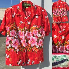 5af5f5b9a Vintage Ui-Maikai Hawaiian Shirt Red With Floral L/XL See Pics For  Measurements | eBay