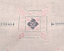 Victorian Linen Hand Towel Pink Drawnwork, Cutwork, Embroidery And Hemstitching