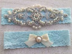 Wedding Garter SET / Bridal Garter / Pearl and by SimplyKateGrace