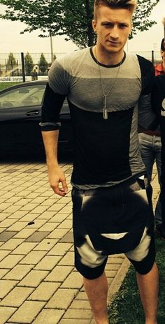 Marco Reus wearing monochromatic casuals