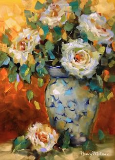 Artists Of Texas Contemporary Paintings and Art - Heat of the Night White Roses by Floral Artist Nancy Medina
