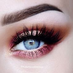 shimmering burgundy eye make up & beautiful lashes <3